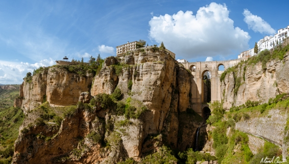 Ronda Spain Puente Nuevo Bridge Waterfall