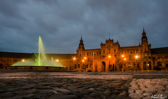 Seville Spain Plaza de Espana Fountain Night