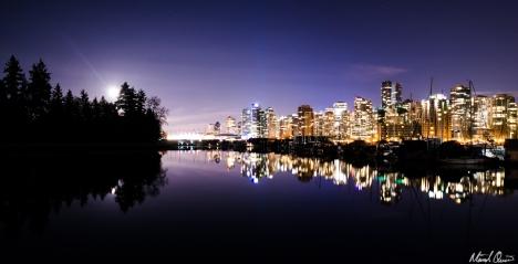 Vancouver Moonrise Cityscape