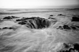 Oregon Coast Thor's Well Black & White