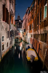 Venice Night Canal Boat