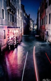 Venice Night Gondola Long Exposure